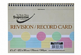 Supreme Revision / Record Cards Spiral Bound with Perforated Edge